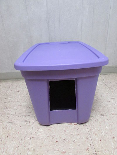 home made litter box plastic tote